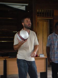 Presenting a soccer ball given by Seth Penny from Mt Zion BC in Malvern, AR.